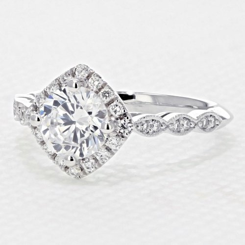 Halo Pave Engagement Ring with 6.5mm Moissanite