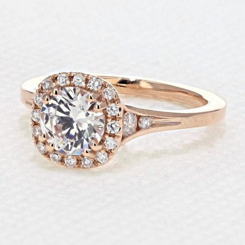 Rose Gold Halo Engagement Ring with 6.5mm Moissanite