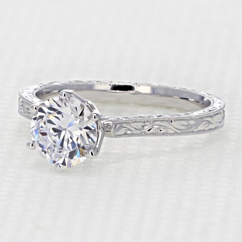 Engraved Engagement Ring with 6.5mm Moissanite